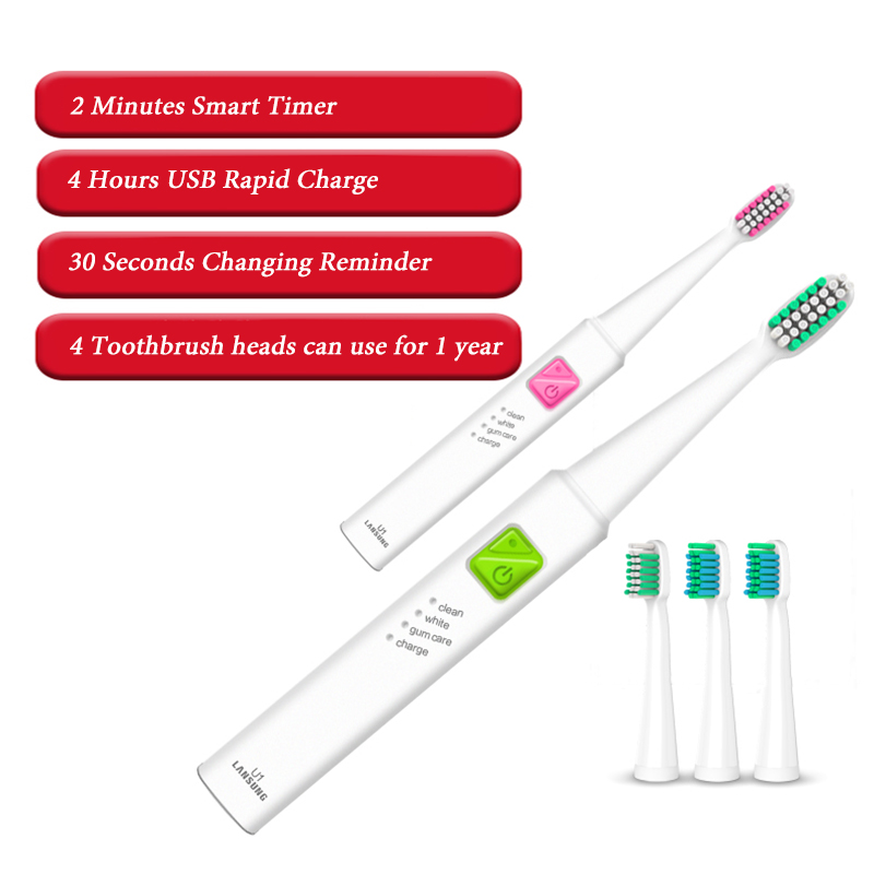Image 4 - U1 Ultrasonic Electric Toothbrush Replacement Heads USB Rechargeable Sonic Electroic Toothbrush Timer Tooth Brush Oral Hygiene-in Electric Toothbrushes from Home Appliances