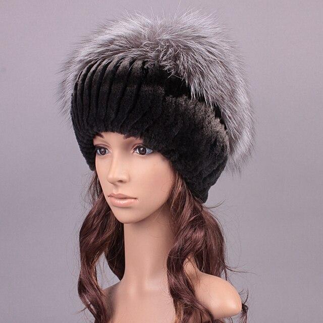 Real Fur Winter Patchwork Hat Fluffy Ball Design Hat Girl Beanies Women New 2016 Casual Caps Rex Rabbit Fur Russian Women Hat