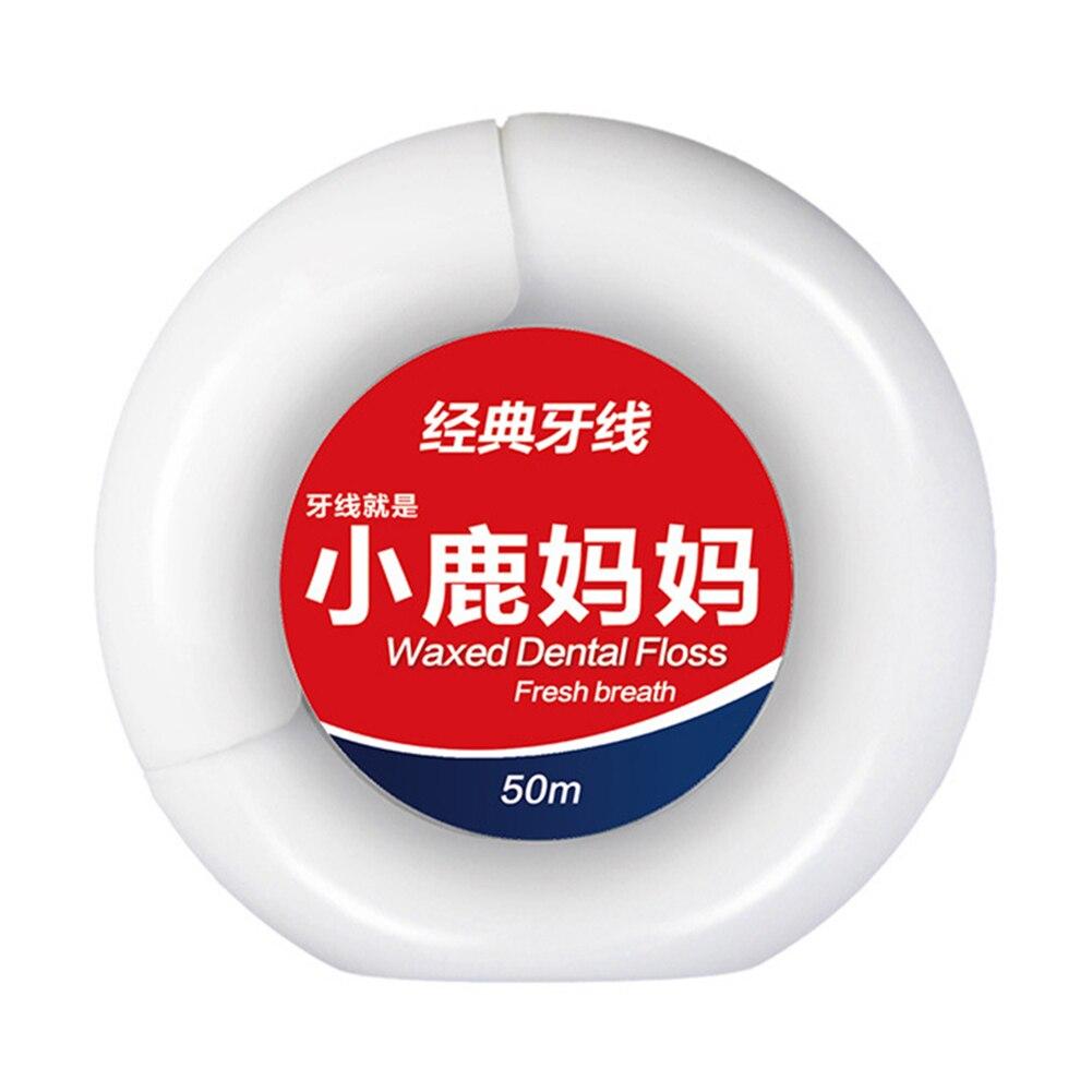 50 м портативная зубная нить, зубная нить, уход за полостью рта, мята перечной, микро-воск, очиститель зубов, гигиенические принадлежности для здоровья, круглый чехол