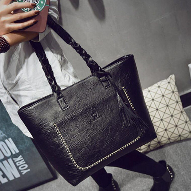 2017 Famous Brand Leather Handbag Bolsas Mujer Large Vintage Tassel Shoulder Bags Women Shopping Tote Bag Purse sac a main Li533