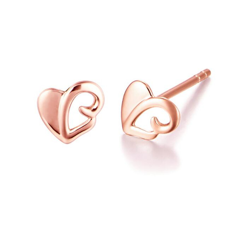 100% 18K Gold Jewelry Fashion Cute Tiny 5.55mmX5.85mm Hollow Heart Stud Earrings For Women Girls Kids Lady AU750 Jewelry Gifts pair of cute rhinestone round hollow out stud earrings for women
