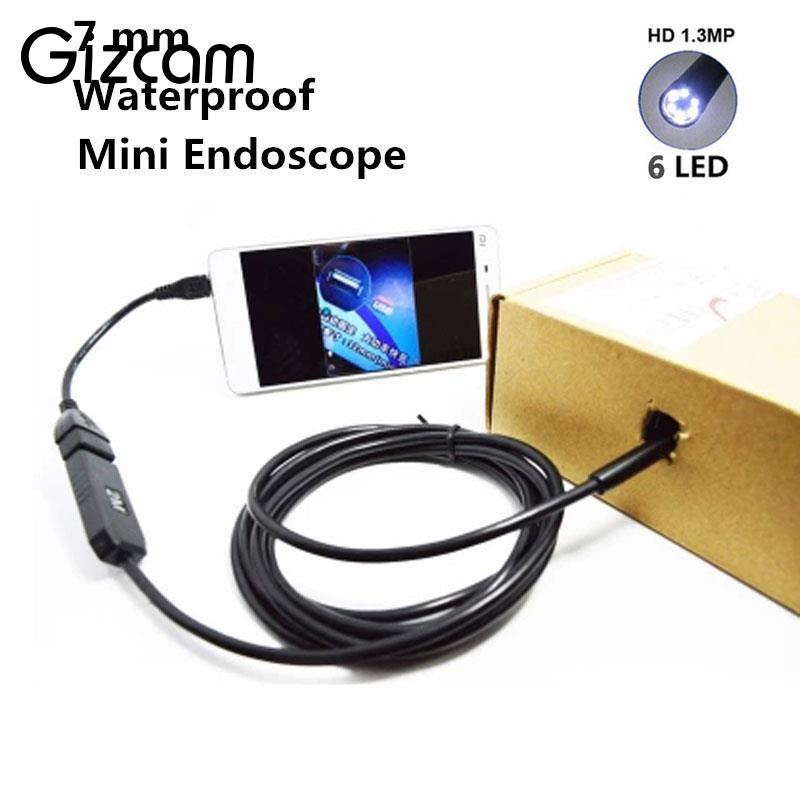 Gizcam OTG Android Phone Endoscope 6 LED IP67 Borescope CMOS Micro Camera with 1 * (Small hook+Magnet+ Side audition+USB line)