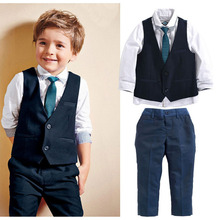 Handsome Boys Suit 3pcs Children's Formal Occasion Clothing Set Gentleman Kids Wedding Party Clothes Set