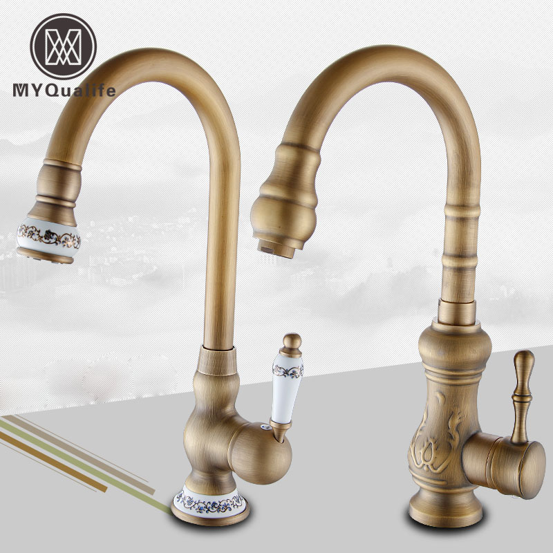 Luxury Deck Mount Single Handle Hole Hot Cold Kitchen Sink Faucet Antique Brass 360 Rotation Kitchen