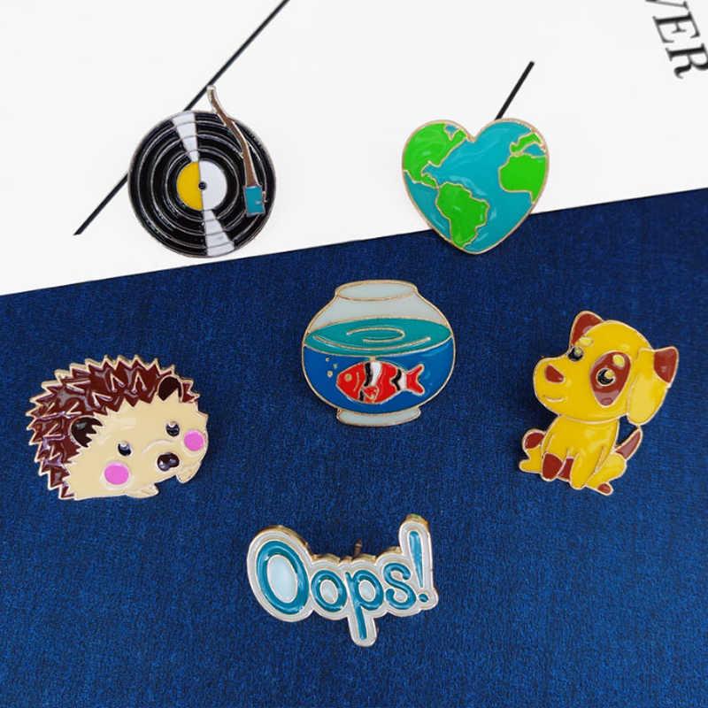 Mode Colorful Enamel Pin Bros Untuk Wanita Kartun Kreatif Mini Anjing Logam Bros Pin Lencana Kerah Perhiasan