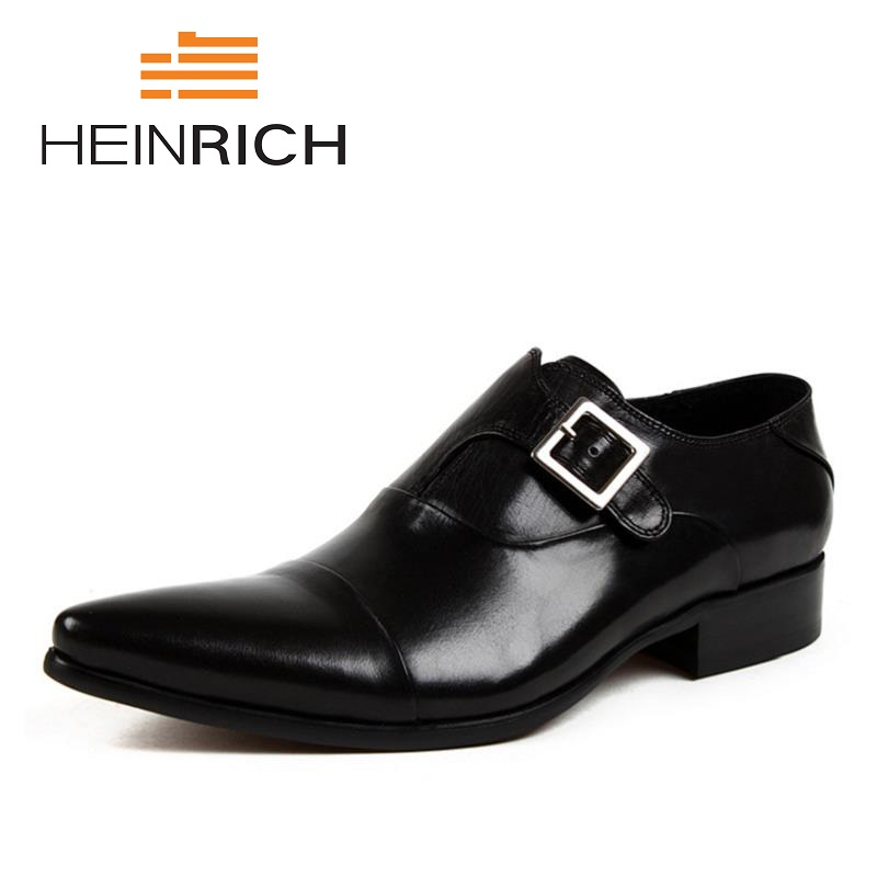 HEINRICH 2018 Hot Sale Genuine Leather Men Monk Strap Wedding Dress Shoes Pointed Toe Male Footwear Chaussure Homme Mariage