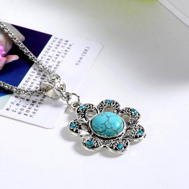 2017 Fashion Bohemian Statement Choker Necklace Collier femmeTurquoise Tibetant Silver Necklaces & Pendants Women Accessories