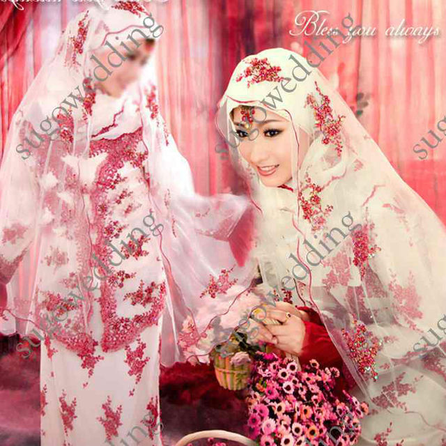 Muslim Wedding Dress White High Neck With Long Sleeves Jacket A Line Satin Bridal