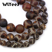 WLYeeS China Tibetan Dzi Matte Tortoise shell Stone Natural 8 10 12mm Round Loose Bead for Jewelry Bracelet Making DIY 15