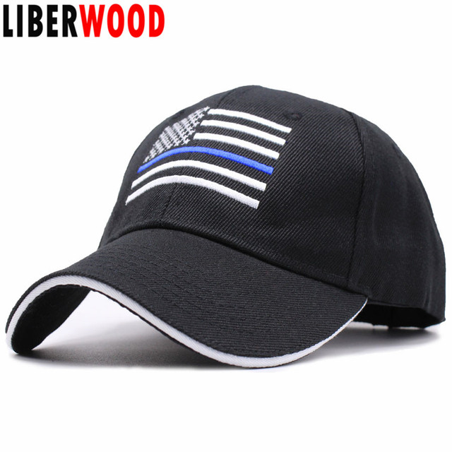 LIBERWOOD US flag Thin Blue  Red Line Hat Tactical Hats For Police American  flag black 9a8c873e740