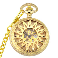 Classic Watches Elegant Hand Wind Vintage Gold Golden Dial Retro Pendant Classic Steel Chain Mechanical Pocket Fob Watch