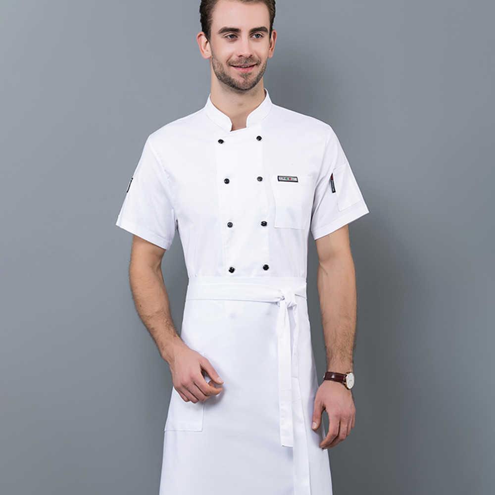 2019 ใหม่อาหารชุดทำงานร้านอาหารบริการเครื่องแบบเชฟเสิร์ฟคุณภาพสูง Unisex Kitchen เสื้อ Workwear