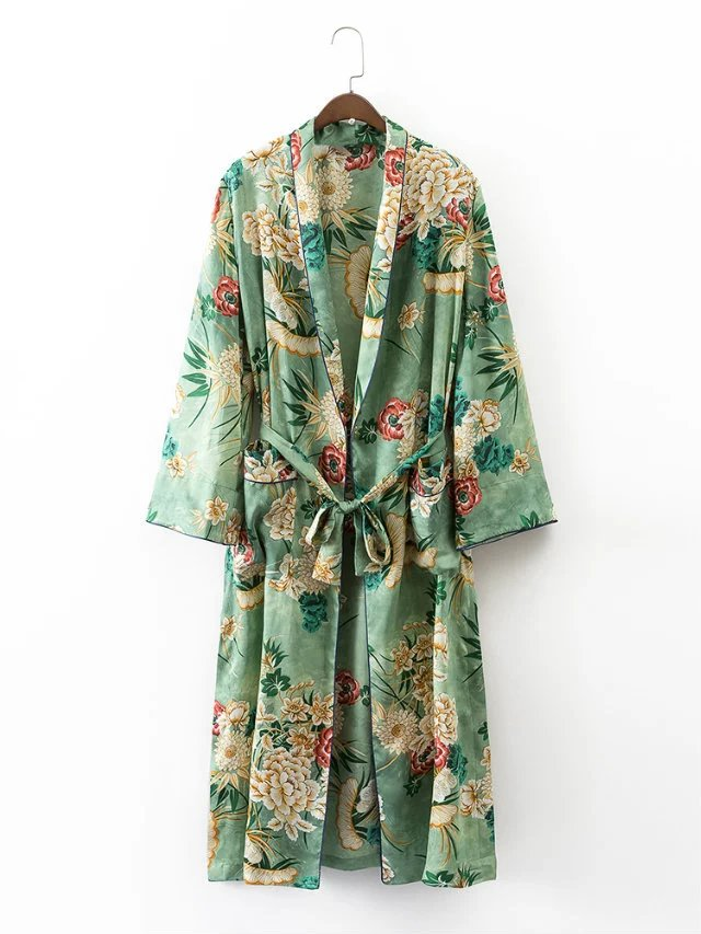 Ladies long holiday printed long-sleeved cardigan sun kimono loose jacket print wide leg pants