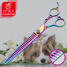 Fenice 8 Inch Dog Thinning Scissors 26 Teeth Professional Shears for Dogs Purple Pet Rate 75%