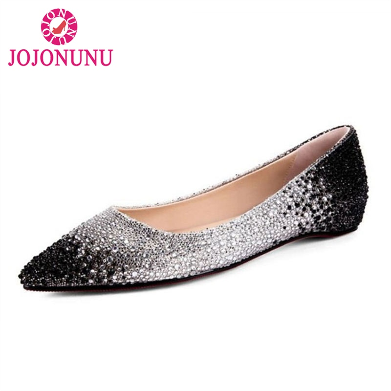JOJONUN Sexy Ladies Real Leather Flats Shoes Women Beading Shine Glitter Flats Shoes Pointed Toe Shoes Women Footwear Size 33-40 ladies real leather pumps shoes women pointed toe cross strap gladiator shoes fiork nude color sexy female footwear size 34 40