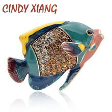 CINDY XIANG 3 Colors Available Enamel Fish Brooches for Women Clownfish Pins Vintage Creative Animal Vivid Jewelry Gift