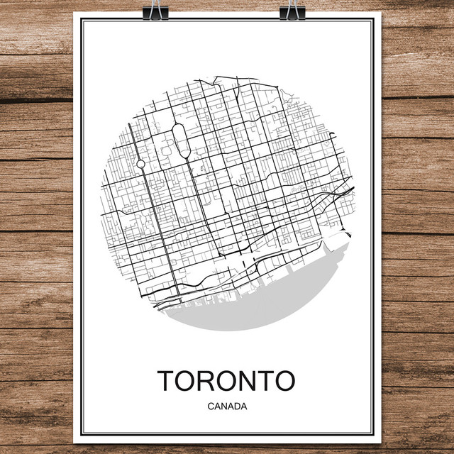 Toronto canada black white world city map modern print poster coated paper for cafe living room