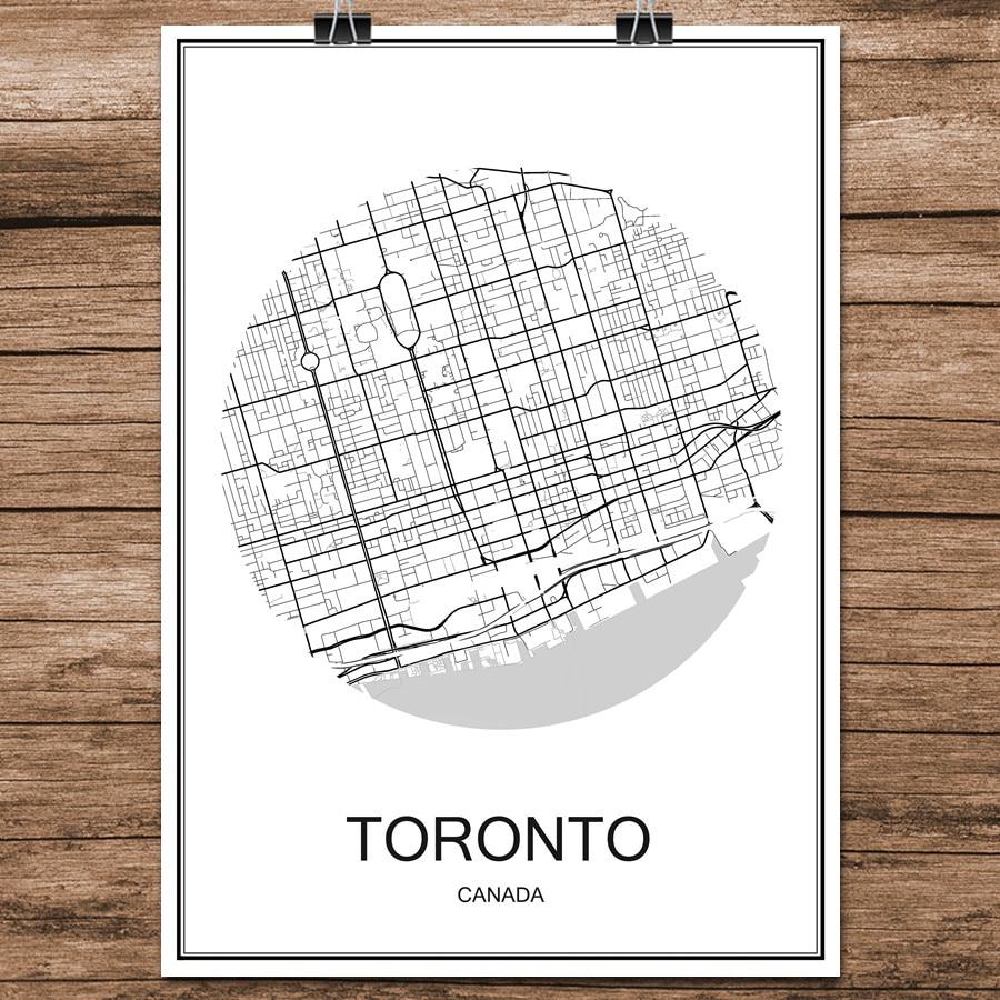 Tienda Online TORONTO Canada Mundo Mapa de La Ciudad Moderna Negro ...