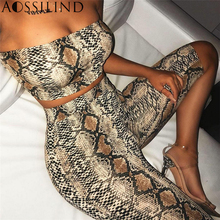 AOSSILIND Snakeskin Print Strapless Sexy Two Piece Playsuit Women Off Shoulder Crop Top and Shorts Set Casual Short Jumpsuit все цены