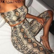AOSSILIND змеиный принт без бретелек пикантные из двух частей Playsuit Для женщин с открытыми плечами укороченный футболка и шорты Комплект Повседневный укороченный комбинезон