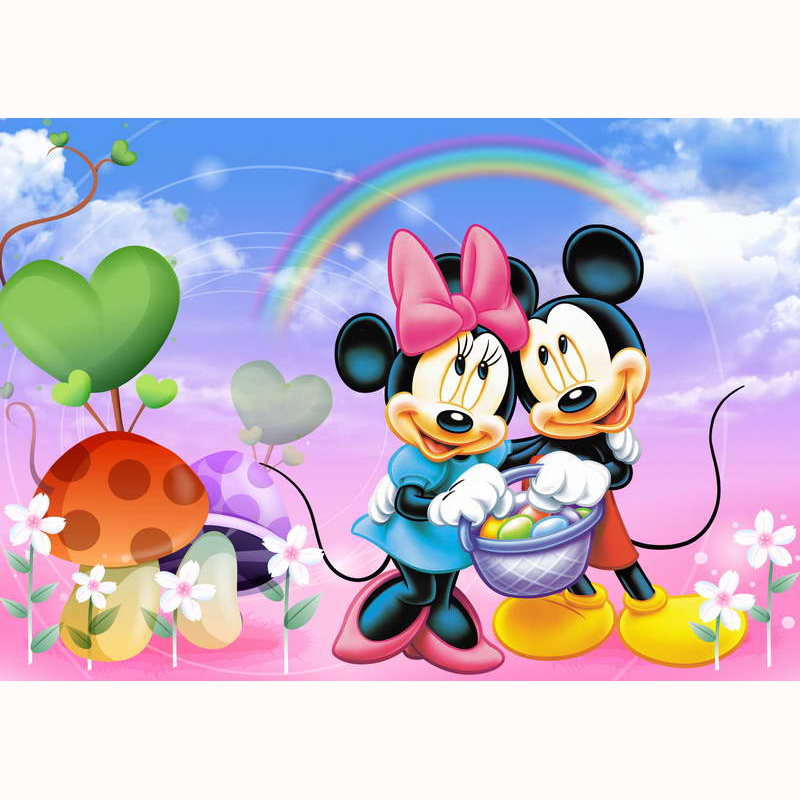 Photography Backdrops Minnie Mickey Mouse Rainbow White Clouds