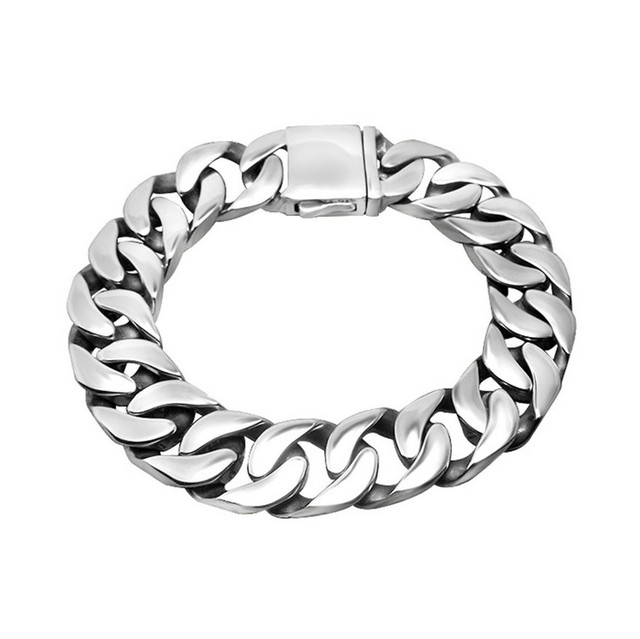Jewelry Men Bracelet Cuban links & chains Silver Stainless Steel Bracelet for Bangle Male Accessory Wholesale Free Shipping