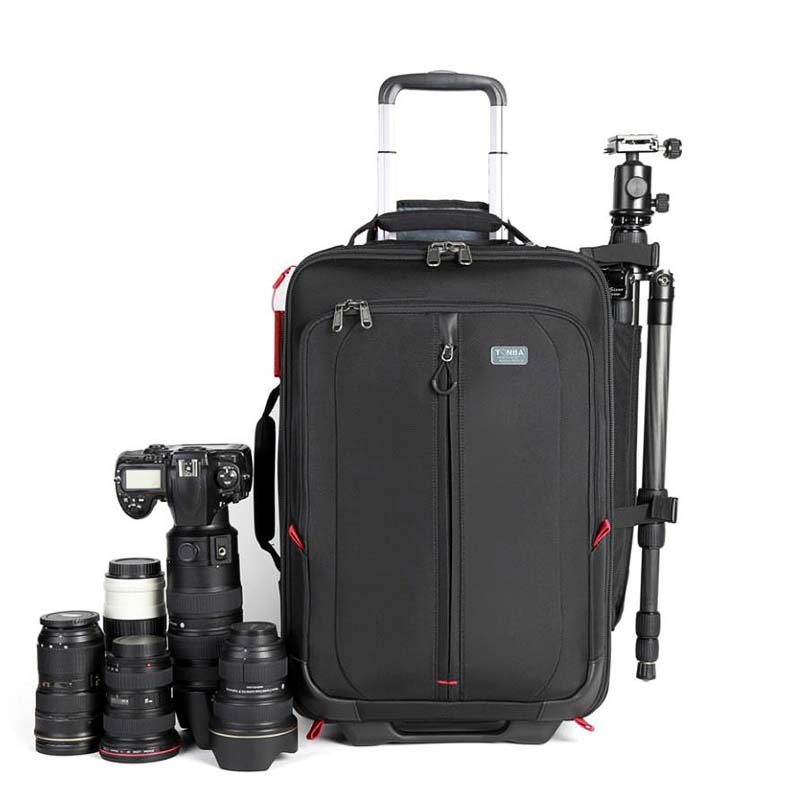 LeTrend Photography Rolling Luggage Spinner Digital Shoulder Suitcase Wheel SLR Camera Cabin Trolley High Capacity Travel Bag