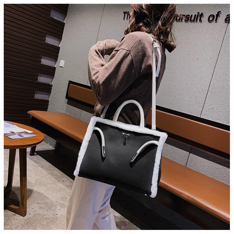 Korean handbag large capacity bucket hand bag designer big tote designer Fur women messengerc winter shopping wool no lock 108