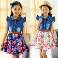 HOT Meninas Adolescentes A Nova Verão Denim Vestido vestidos Florais meninas miúdos 10 anos baby girl roupas crianças vestidos infantis