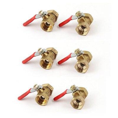 3/8 PT 15mm Female to Female Full Port Red Lever Handle Brass Ball Valve 6pcs female to female f f 1 2 pt threaded yellow lever handle brass ball valve