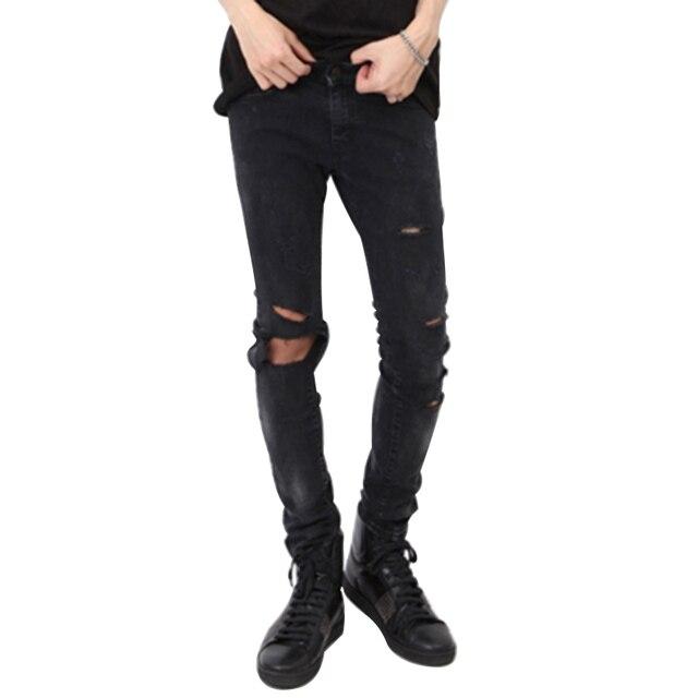 821ae3d5fb231 MCCKLE hommes déchiré distroyé Slim Vintage noir Jeans pantalon trous sur  le genou crayon Denim Joggers