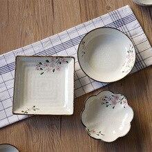 Japanese Sakura Irregular Ceramic Plate Floral Glaze Porcelain Dinner Western Fruit Dessert Tray Nuts Snack Dishes