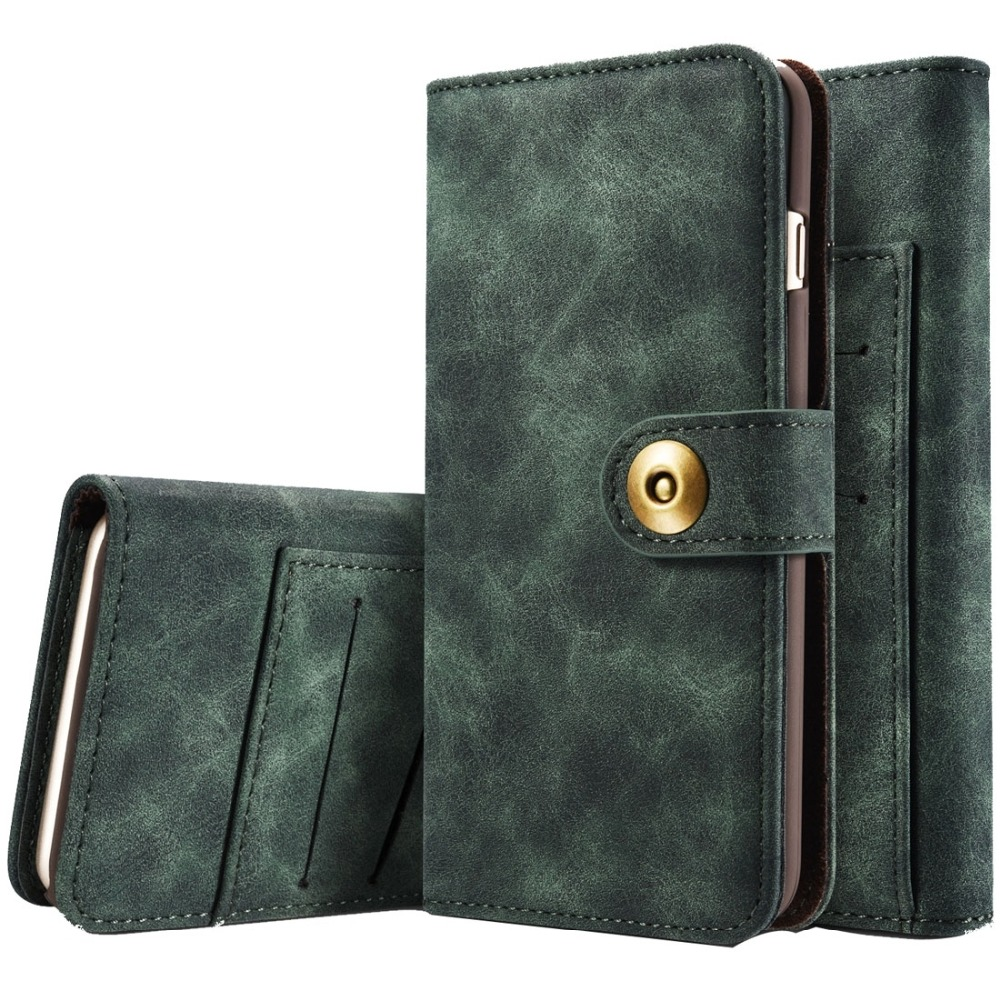 Для iPhone 6 и 6S Ретро Магнитный Горизонтальное Флип кожаный чехол с прорезями для пластиковых карт и кошелек и фото Рамки и съемная задняя крыш...