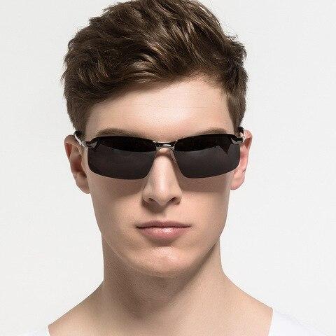 Rimless Polarized Sunglasses Men Driving Men Sunglasses Night Vision UV400 Goggles Alloy Photochromic Sunglasses Change Color Karachi