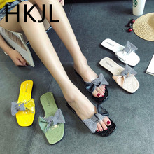 HKJL The 2019 summer edition of the new candy bear bottom flip-flops, Korean version bow slippers A727