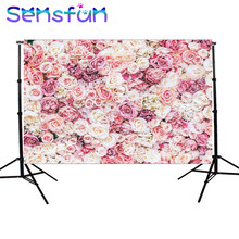 Sensfun Backgrounds Pink Floral Newborn Children First Birthday backgrounds for photo studio for a photo shoot 7x5ft(China)