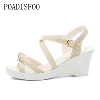 POADISFOO Big Size 31-43 Fashion Cutouts Lace Up Women Sandals Open Toe Low Wedges Bohemian Summer Shoes for women .HYKL-8001