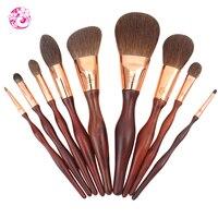 Energy Brand Rose Wooden Handle Squirrel Hair 9pcs High Grade Cosmetic Brush Set