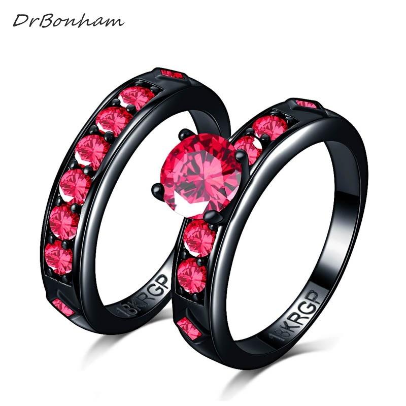 DrBonham Shiny Red Ring Red Garnet Women Charming wedding Jewelry Black Gold Filled couple Ring set Bijoux Femme male DR1747