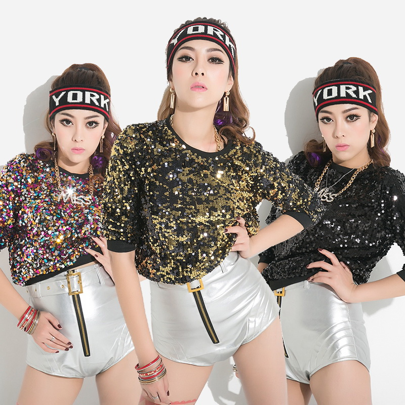 New Women Sequined T shirt Fashion Design Hot Sale Hip Hop Dance Tee For Womens Casual Tops Club/Party/Disco/Jazz T-shirts Girl