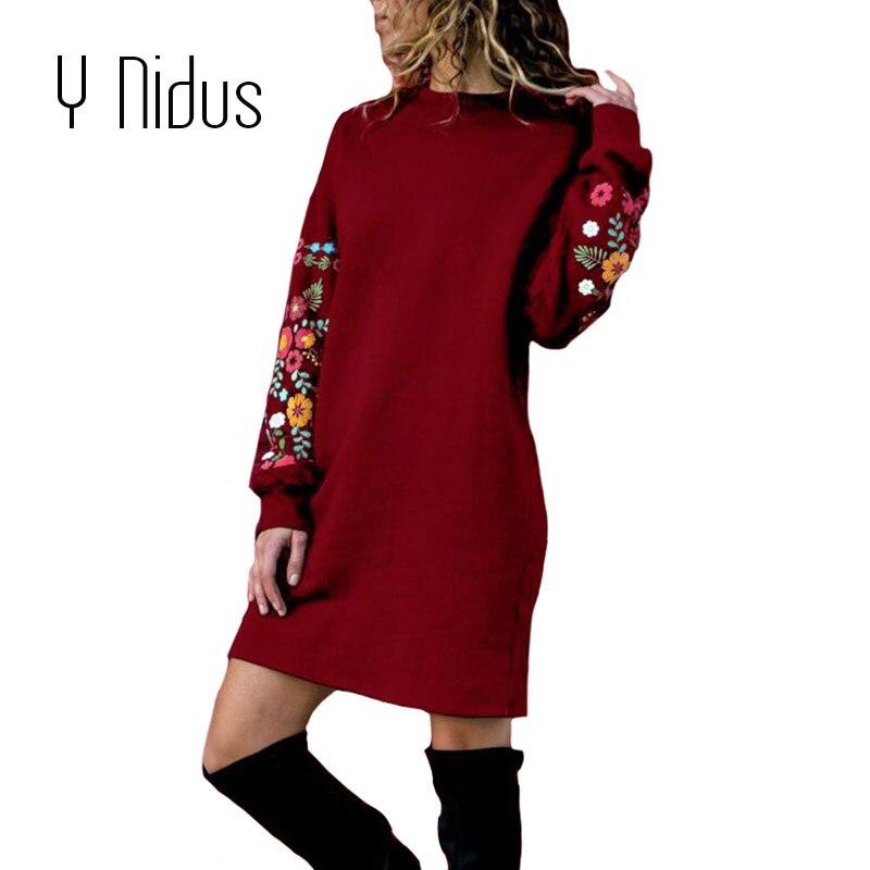 Y Nidus Winter Warme Kleider Frauen Mini Kleid Elegante Blumen Druck Lange Hülse O-ansatz Lose Kleid Schwarz Streeetwear vestido 2018
