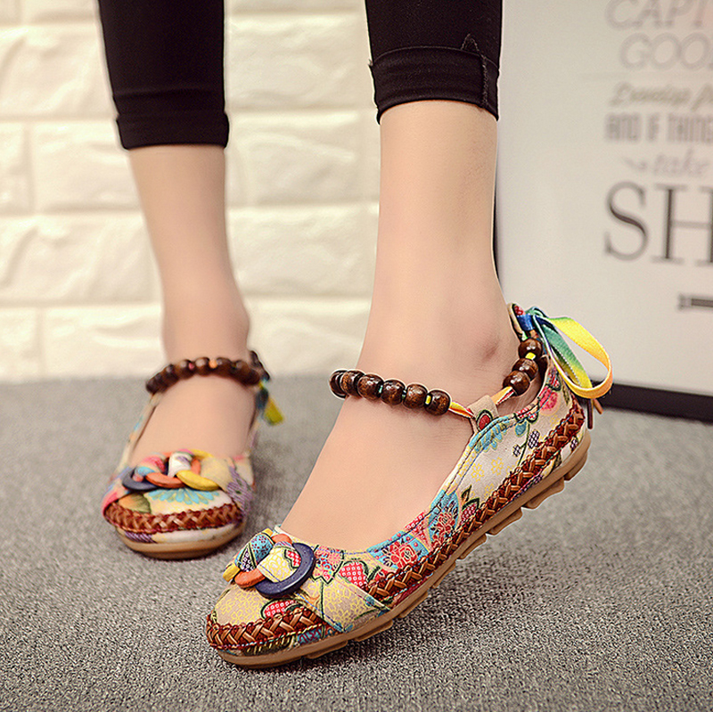 Plus size42 Casual Flat Shoes Women Flats Handmade Beaded Ankle Straps Loafers Zapatos Mujer Retro Ethnic