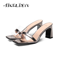 AIKELINYU 2019 New Women Summer High Quality Square Heels Pumps Genuine Leather Shoes Woman Sandals Open Toe Ladies Slipper