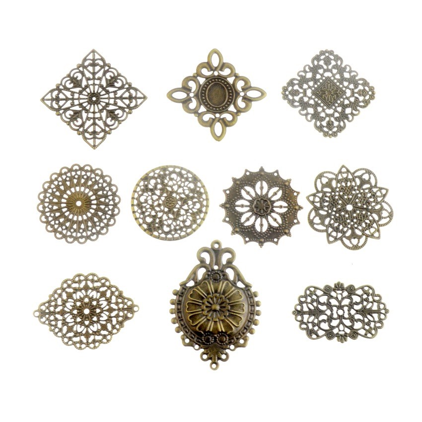 Free Shipping 10PCS Antique Bronze Color Metal Filigree Wraps Connectors Crafts Gift Decoration DIY Jewelry Findings