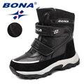 BONA/Новое поступление  Классические Стильные Детские ботинки на липучках  зимняя обувь с закругленным носком для мальчиков и девочек  легкие...