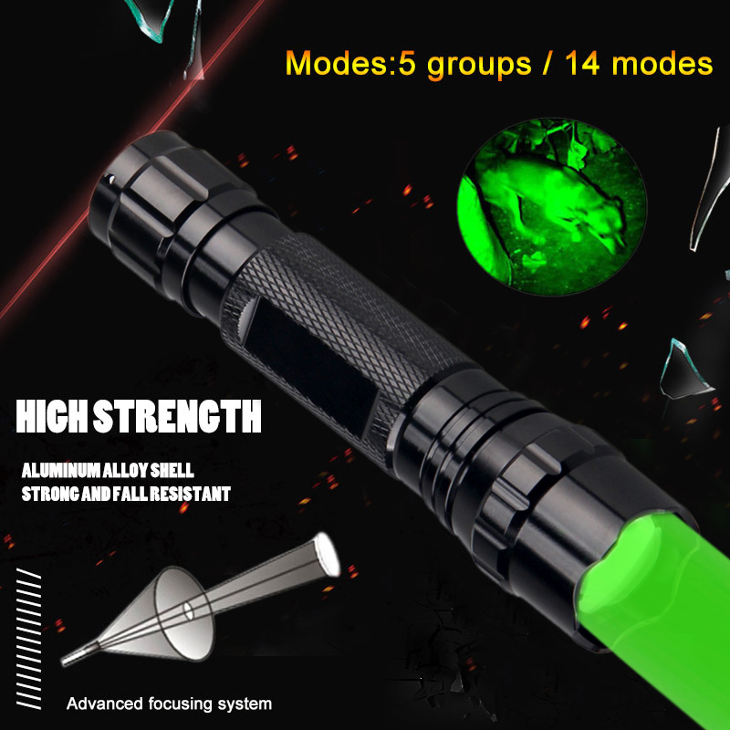 Green LED Light Tactical Flashlight Zoomable Spot Flood Light Torch Hunting Lamp with Pressure Switch for 18650