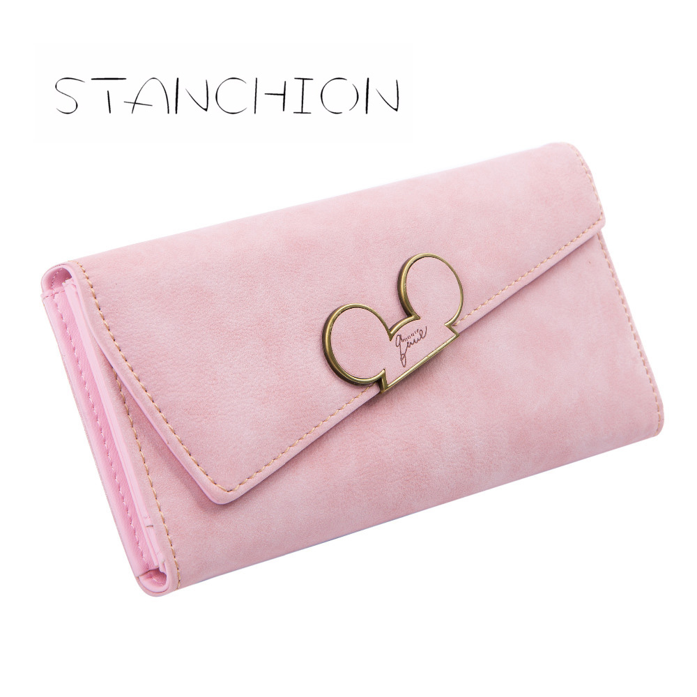 Wanita Dompet Faux Kulit Seksyen Panjang Hasp Purse Mickey Ketua Oblique Cover Jenis Tiga Fold Clutch Coin Pocket Card Holder