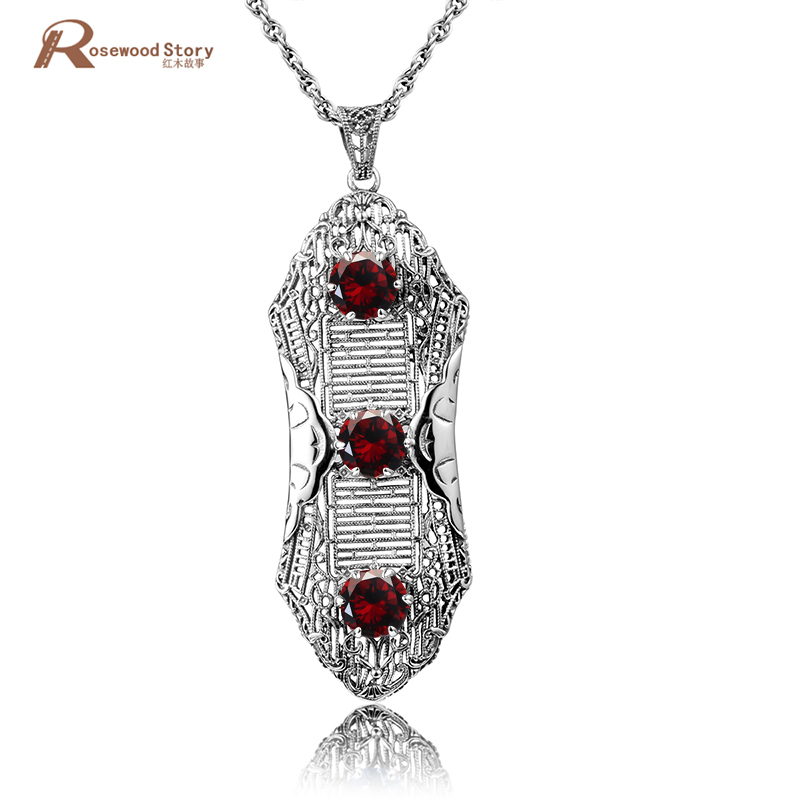 Exquisite Statement Bridal Pendant Necklaces Red Rhinestone Women 925 Sterling Silver Crystal Fine Jewelry Vintage Femme Colar