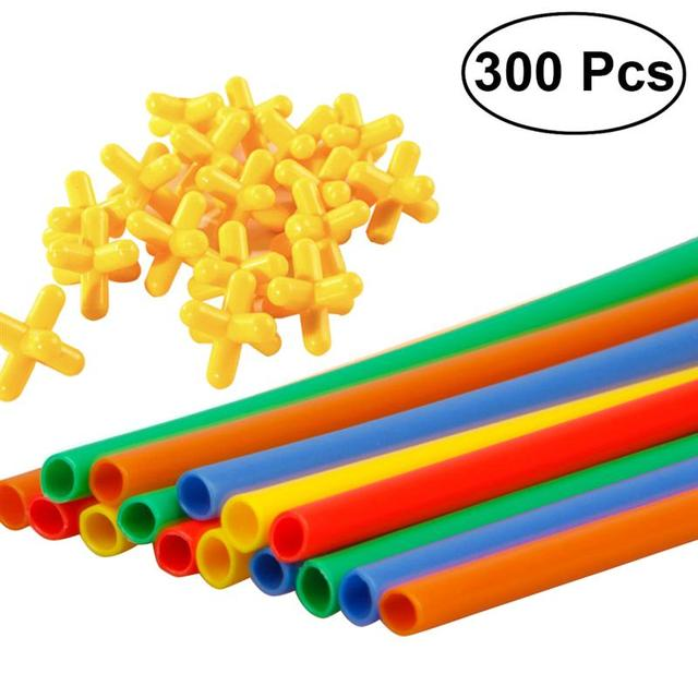 300pcs Straw Constructor Interlocking Enginnering Toys Straws And Connectors Set Kids Educational