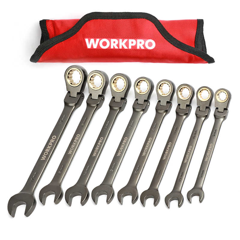 WORKPRO 8PC Wrenches Flex-head Ratcheting Combination Wrench Set Metric/SAE Home Repair Tools